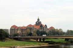 Мост над Эльбой в Дрездене Стоковая Фотография