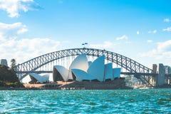 Мост оперного театра и гавани Сиднея Стоковые Фотографии RF