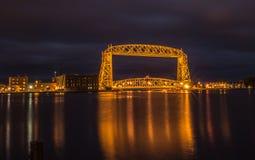 Мост подъема Дулута воздушный на ноче Стоковая Фотография RF