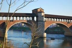 мост покрыл ticino реки стоковые изображения