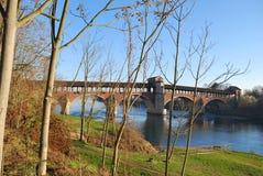 мост покрыл ticino реки стоковые изображения rf