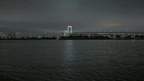 Мост радуги и горизонт токио к ноча - красивый вид от Odaiba акции видеоматериалы