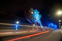 Мост дракона на ноче в Da Nang, Вьетнаме Стоковая Фотография