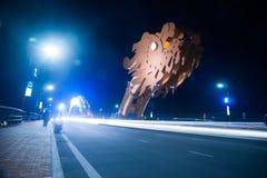 Мост дракона на ноче в Da Nang, Вьетнаме Стоковая Фотография RF