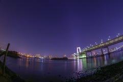 Мост радуги с светами города токио Стоковые Фотографии RF