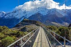 Мост реки рыболовного судна - национальный парк Aoraki - Новая Зеландия Стоковое фото RF