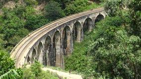 Мост 9 сводов железнодорожный внутри леса стоковые фотографии rf