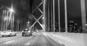 Мост строба Goldent к ноча, B&W Стоковое Изображение RF