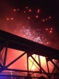 Мост фейерверков Стоковые Фотографии RF