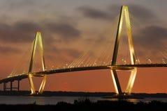 Мост Чарльстон реки бондаря Jr. Артур Ravenel Стоковые Изображения RF