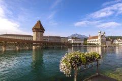Мост часовни Люцерна Luzern Швейцарии стоковые изображения