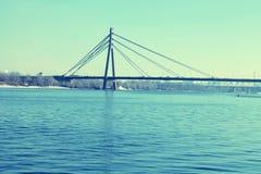 Мост через реку Dnieper, Киев стоковые изображения