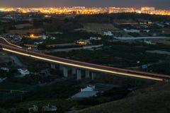 Мост шоссе на ноче Стоковое Фото