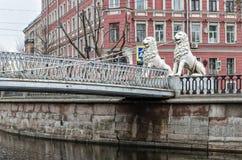 Мост 4 львов на канале Griboyedov Стоковая Фотография