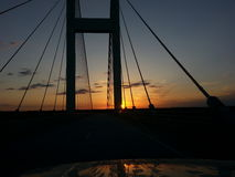 Мост Audubon в заходе солнца Стоковые Изображения RF