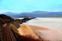 Мост Barmouth железнодорожный, среднее Уэльс, Великобритания Стоковая Фотография RF