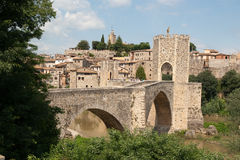 Мост Besalu Cataonia Испания Стоковое Изображение