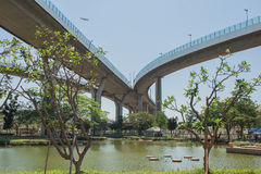 Мост Bhumibol или мост промышленных колец Стоковое Изображение RF