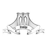 мост brooklyn New York Дизайн ярлыка США перемещения Стоковое фото RF