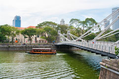 Мост Cavenagh в Сингапуре Стоковые Фото