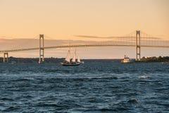 Мост Claiborne Pell в Ньюпорте, Род-Айленде Стоковая Фотография
