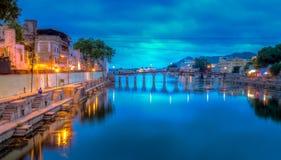 Мост Daiji на ноче стоковые фотографии rf
