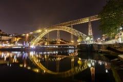 Мост Dom Луис над рекой Duoro в Порту, городском пейзаже Португалии стоковые фото