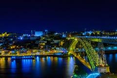 Мост Dom Луис i, и Ribeira, в Порту Стоковая Фотография