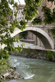 Мост Fabricius в Риме, Лацие, Италии Стоковое Фото