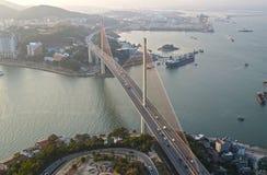 Мост Ha длинный Заход солнца Стоковое Изображение