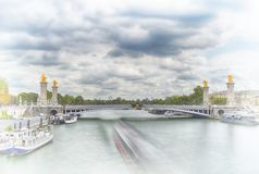 мост III paris alexandre стоковое изображение rf