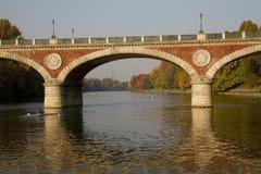 Мост Isabella в Турине Италии Стоковое фото RF