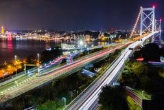 Мост Kanmon соединяет Кюсю и Хонсю, Японию Стоковые Изображения RF