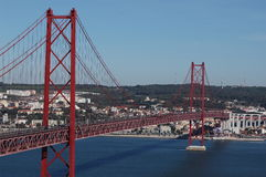 Мост lisbon 25-ое апреля Стоковая Фотография RF