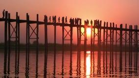 мост mandalay myanmar u bein сток-видео