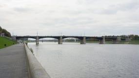Мост Novovolzhsky в Tver Стоковое Изображение RF