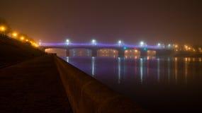 Мост Novovolzhsky над Волгой Построенный в 1956 Стоковая Фотография