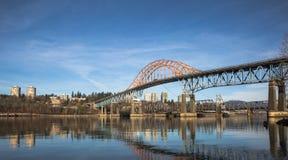 Мост Pattullo и железнодорожный путь, новый Вестминстер Стоковые Фото