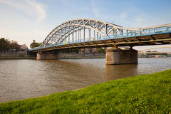 Мост Pilsudski на Реке Висла в Кракове Стоковое фото RF