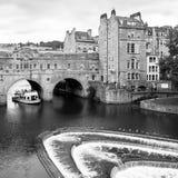 Мост Pulteney в ванне Сомерсет, Великобритания черная белизна Стоковые Фото