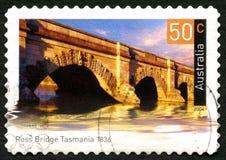 Мост Ross в штемпеле почтового сбора Тасмании австралийском Стоковое Изображение RF