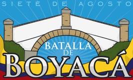 Мост ` s Boyaca колумбийские ориентир ориентир и флаг на 7-ое августа, иллюстрация вектора иллюстрация вектора
