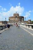 Мост Sant'Angelo Рим Италия Стоковое Фото