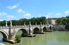 Мост Sant'Angelo Рим Италия Стоковые Фотографии RF