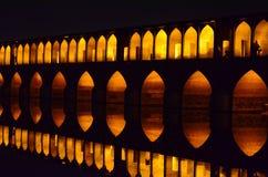 Мост Siosepol на ноче стоковые фотографии rf