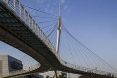 Мост Skywalk Сантьяго Калатрава Израиль стоковое изображение rf