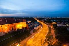 Мост Sląsko-Dąbrowski в городе Варшавы Стоковое Изображение