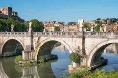 Мост St Angelo, Рим, Италия Стоковые Изображения