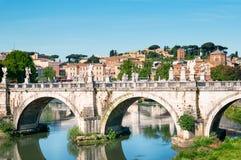 Мост St Angelo, Рим, Италия Стоковые Фотографии RF