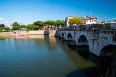 Мост Tiberius в Римини - Италии Стоковое Изображение
